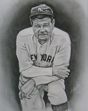 title babe ruth media charcoal on gray paper size 8 x 10 $ 45 00 buy ...